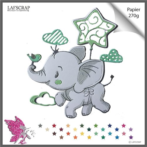 Découpe scrapbooking éléphant animal, nuage ballon étoile, oiseau noeud, bébé naissance, anniversaire fête découpe papier