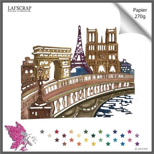 1 découpe scrapbooking, monument paris tour eiffel, arc de triomphe, église notre dame découpe papier embellissement album carte