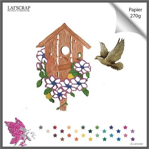 Découpes scrapbooking, cage à oiseaux, colombe animal, maison jardin, fleur nid,