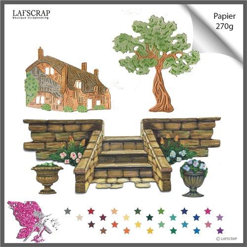 Découpes scrapbooking, banc arbre, fleur, escalier jardin, plante,  jardinage, maison cottage découpe papier embellissement album