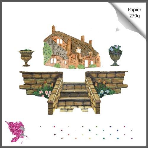 Découpes scrapbooking, maison cottage, porte barrière fleur, escalier jardin, plante, jardinage, découpe papier embellissement album