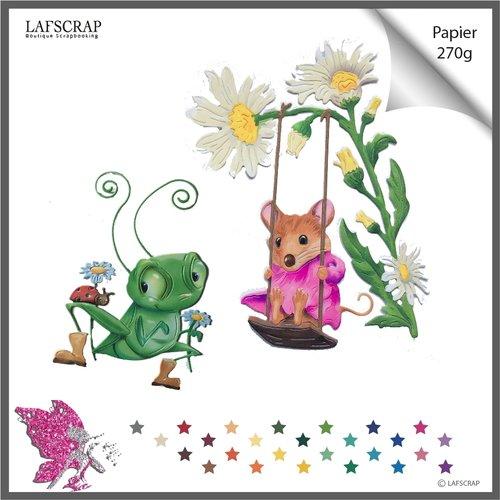 Lot découpes scrapbooking sauterelle coccinelle bottes fleur souris balançoire bébé découpe papier embellissement
