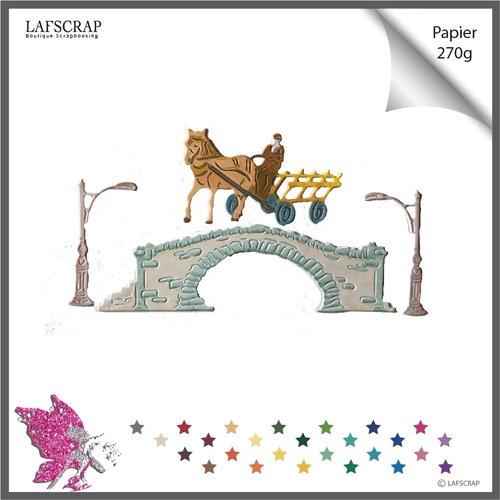 Découpes scrapbooking, pont lampadaire, personnage homme fermier, cheval charrette, chariot, découpe papier embellissement album