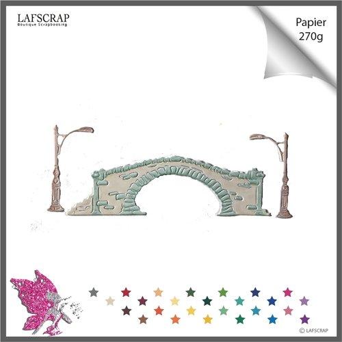 Découpe scrapbooking, pont, lampadaire,  découpe papier embellissement album carte