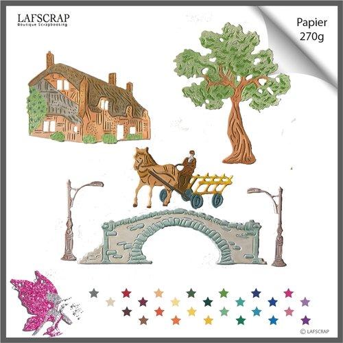 Découpes scrapbooking, pont lampadaire, personnage homme fermier, cheval charrette, chariot, arbre maison cottage découpe papier