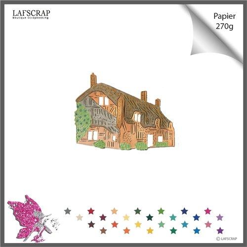1 découpe scrapbooking,  maison cottage, découpe papier embellissement album