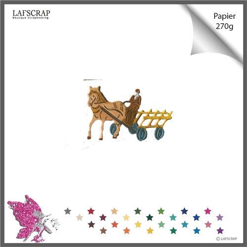 Découpe scrapbooking, personnage homme fermier, cheval charrette, chariot, découpe papier embellissement album