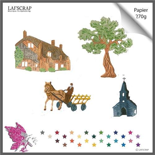 Découpes scrapbooking, personnage homme fermier, cheval charrette, chariot, arbre maison église découpe papier embellissement album
