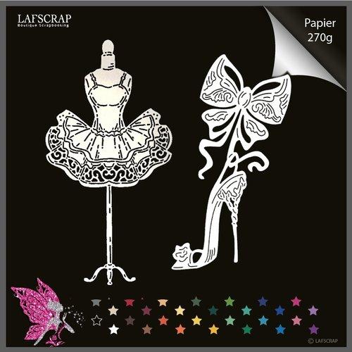Découpes scrapbooking, chaussure escarpin princesse, mariage noces, noeud, mannequin robe princesse tutu couture  découpe papier