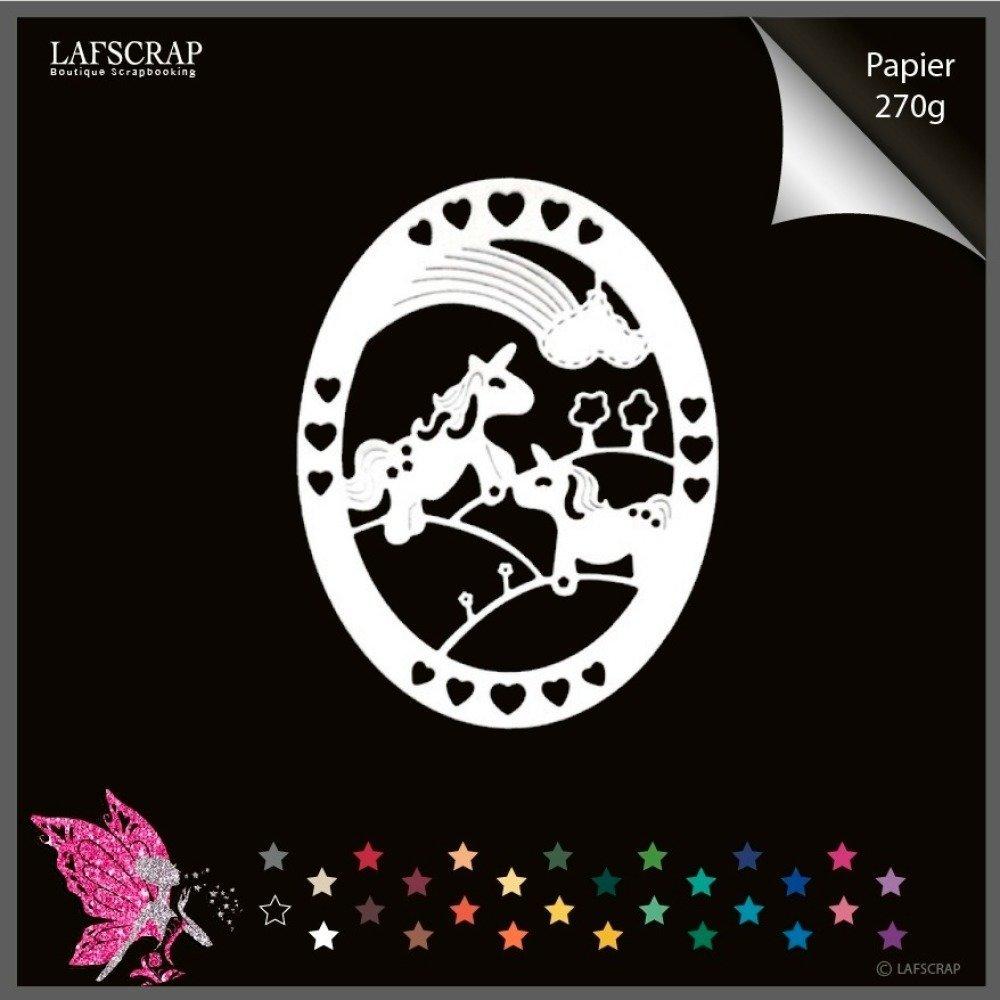 1 découpe scrapbooking scrap cadre licorne cheval arc en ciel fleur bébé naissance découpe papier embellissement die