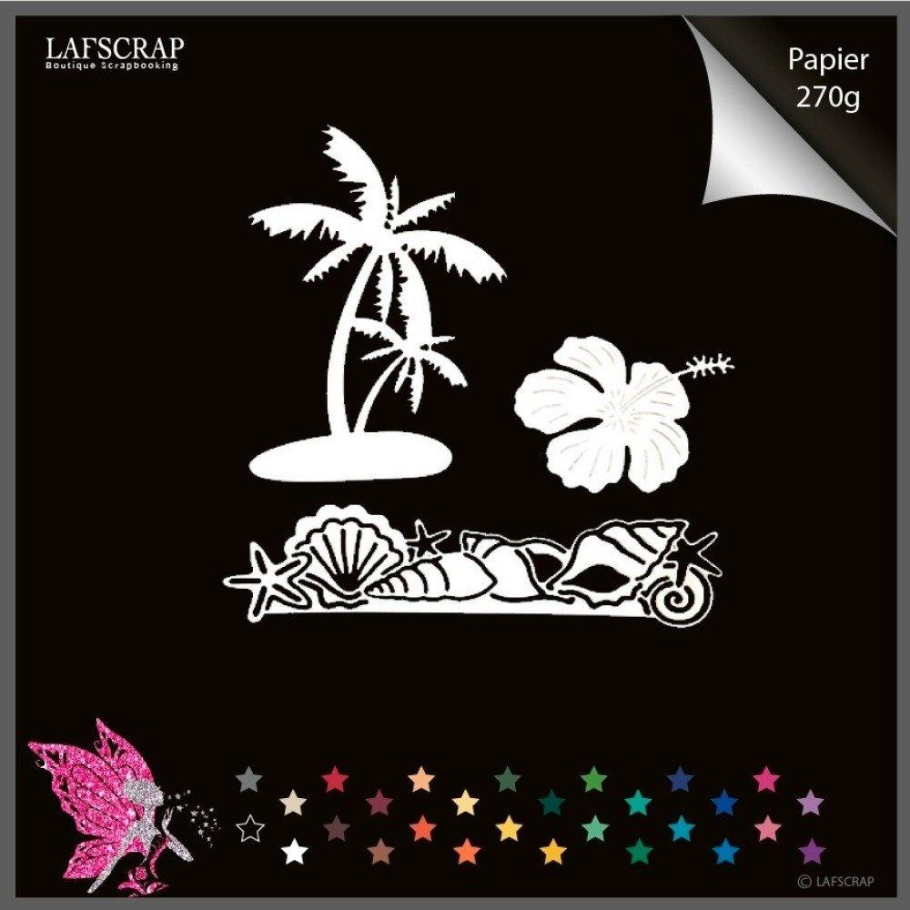 découpes scrapbooking palmier fleur coquillage étoile mer découpe papier embellissement die cut création