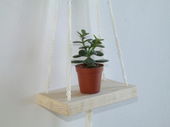 Mini Étagère Balançoire Balancelle à Suspendre en Macramé Blanc