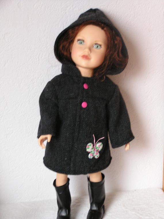 Manteau en lainage pour poupée de 46 à 50 cm