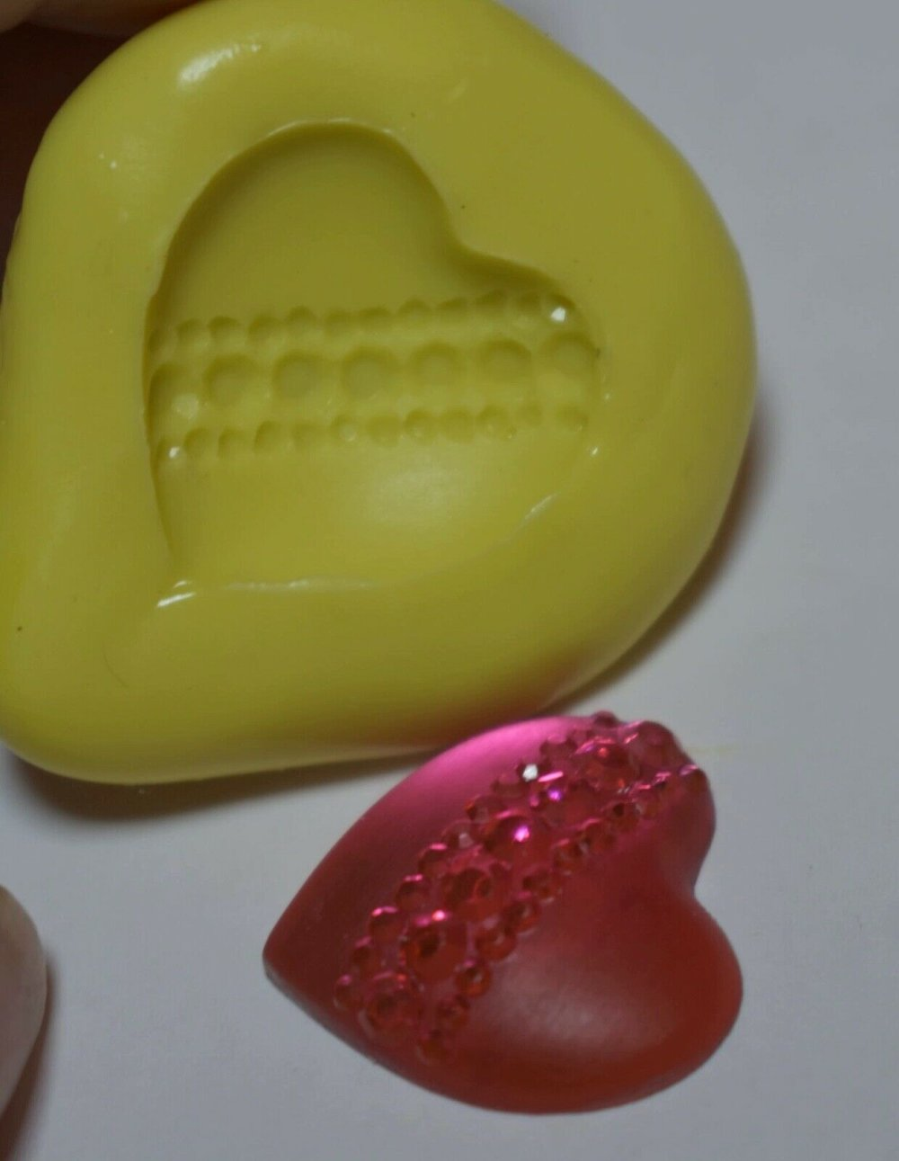 moule silicone cabochon diamant coeur  resine epoxy , fimo,plâtre,chocolat