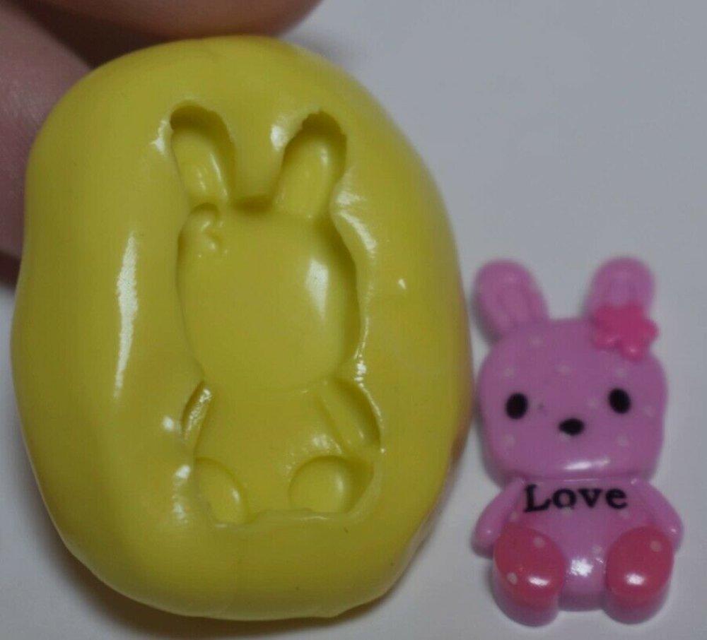 moule silicone cabochon fille lapin d épicé resine epoxy , fimo,plâtre,chocolat