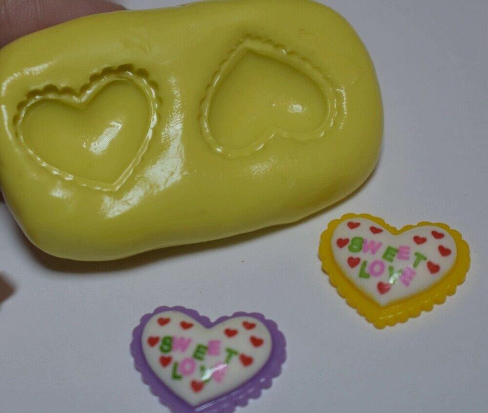 moule silicone cabochon coeur resine epoxy , fimo,plâtre,chocolat