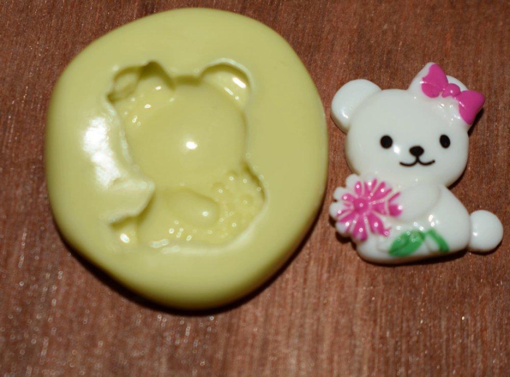 moule silicone cabochon ourson fleur resine epoxy , fimo,plâtre,chocolat