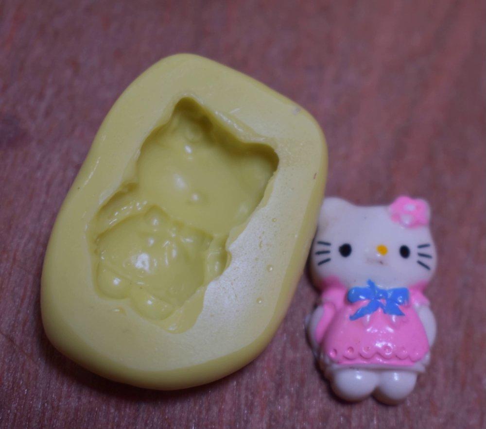 moule silicone cabochon fille chat resine epoxy , fimo,plâtre,chocolat