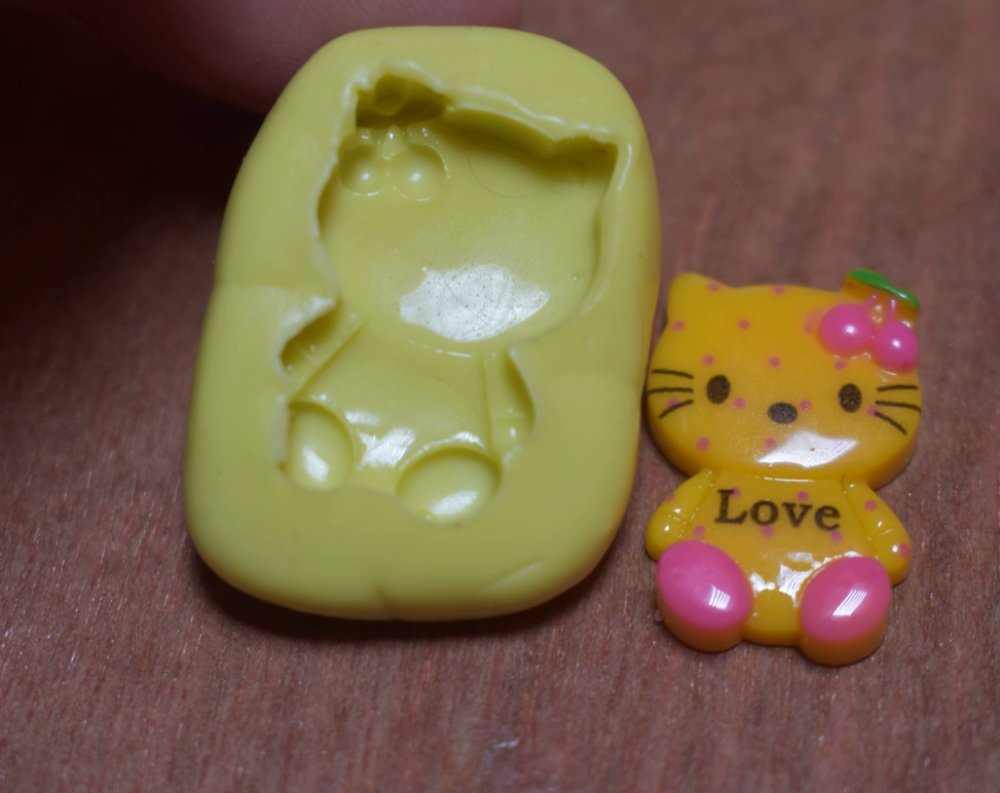 moule silicone cabochon chat fille resine epoxy , fimo,plâtre,chocolat