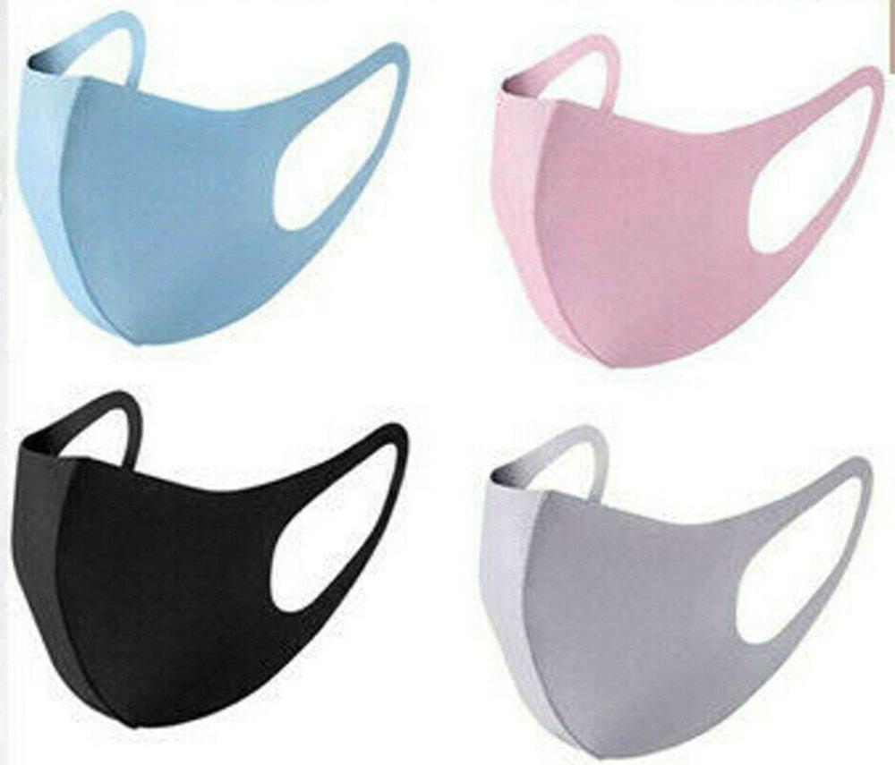 lot de 4 Masques Protection Tissunoir,bleu,rose, gris  Lavable et Réutilisable