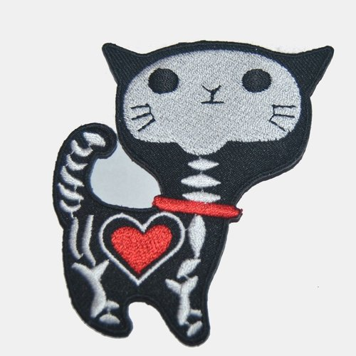 Patch chat squelette thermocollant coutures