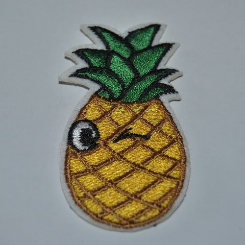 Patch ananas smiley écusson brodé thermocollant coutures