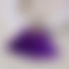 Pendentif frange violet, pompon , gland