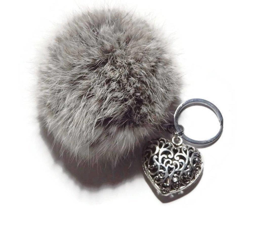 Porte clés pompon fourrure boule de poil en angora gris argent