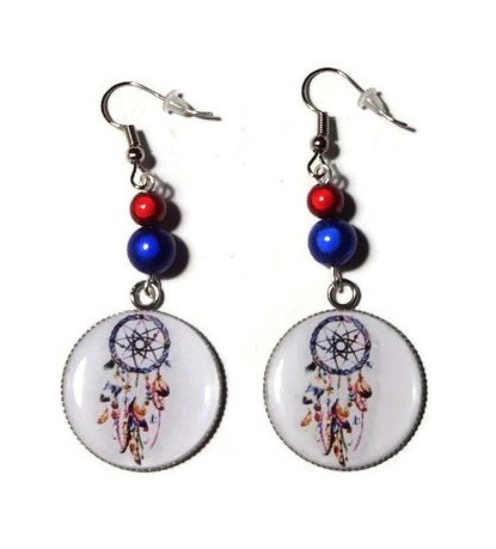 Boucles d'oreilles attrape rêves avec perle magique rouge et bleu