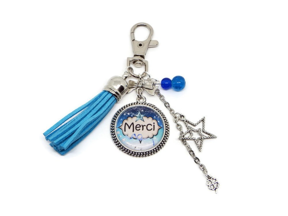 Porte-clés merci, cadeau pour dire MERCI avec pompon turquoise