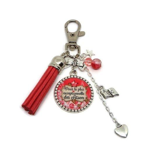 """Porte clés atsem, cadeau atsem, """"pour la plus exceptionnelle des atsem"""""""