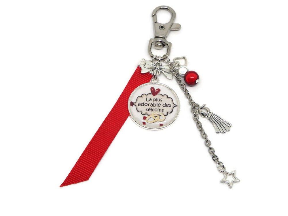 """Porte clés témoin mariage, cadeau TÉMOIN, """"La plus adorable des témoins"""""""