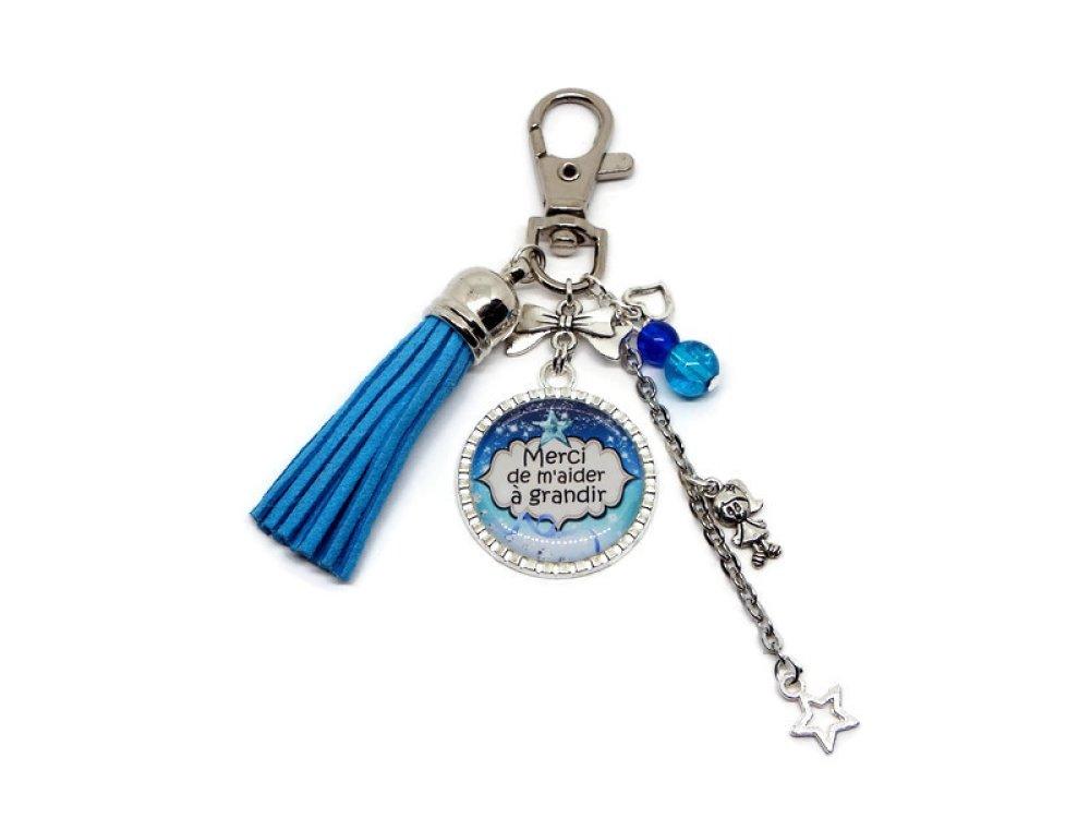 "Porte clés nounou, cadeau NOUNOU, ""Merci de m'aider à grandir"""