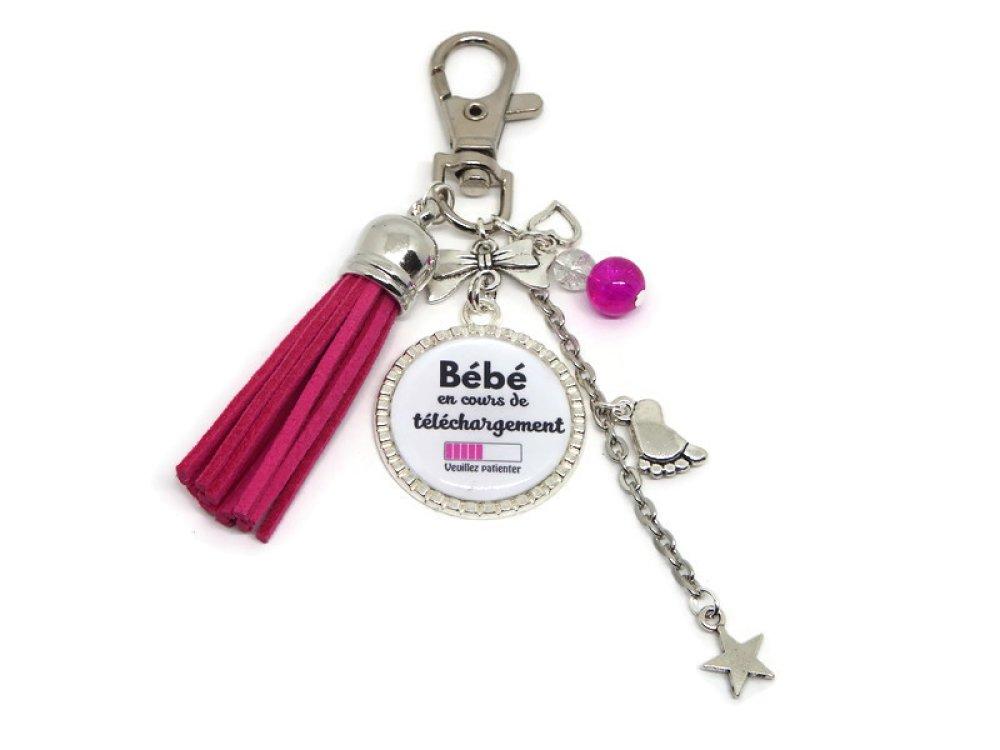 """Porte clés future maman, cadeau FUTURE MAMAN, """"Bébé en cours de téléchargement, veuillez patienter"""", annonce sexe bébé"""