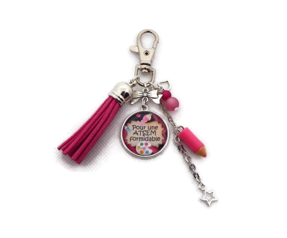 "Porte clés ATSEM, cadeau ATSEM ""Pour une Atsem formidable"""