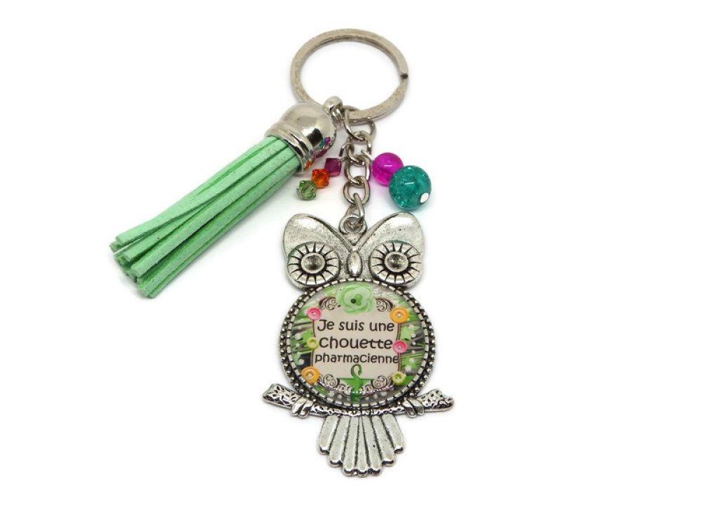 """Porte clés pharmacienne, cadeau PHARMACIENNE, """"Je suis une chouette pharmacienne"""""""