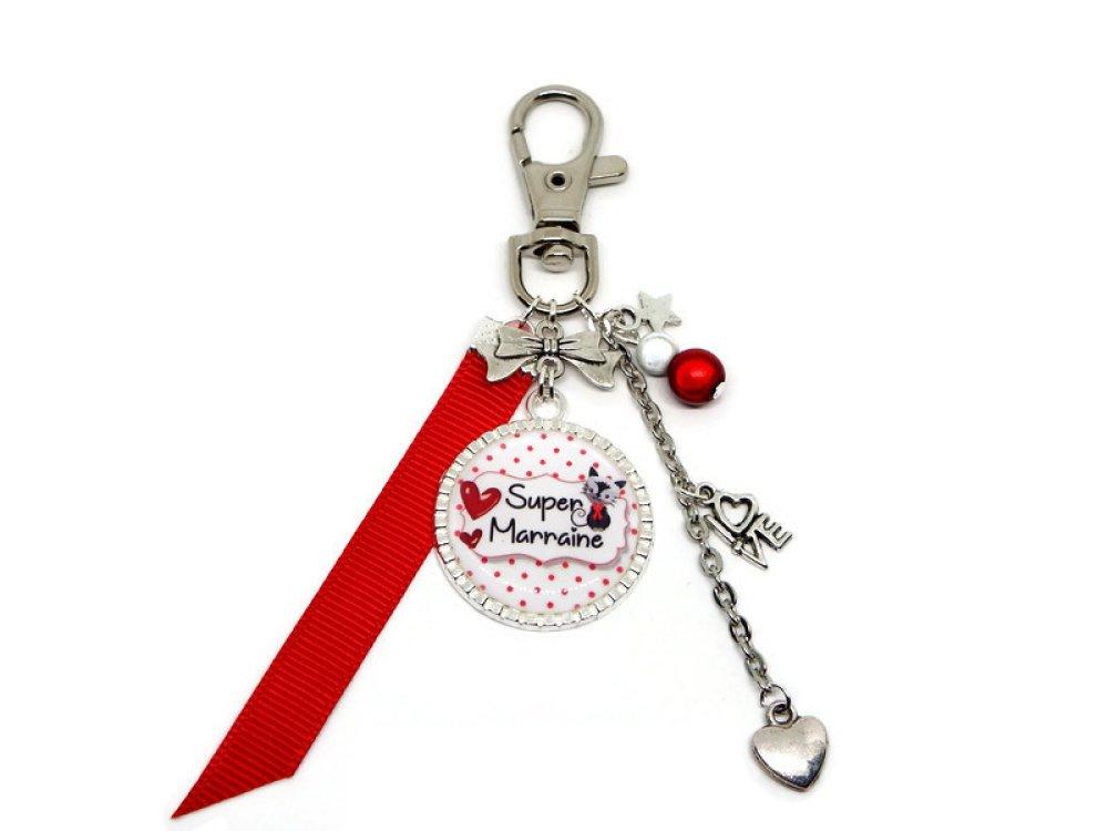 """Porte clés marraine, cadeau MARRAINE, """"Super marraine"""""""