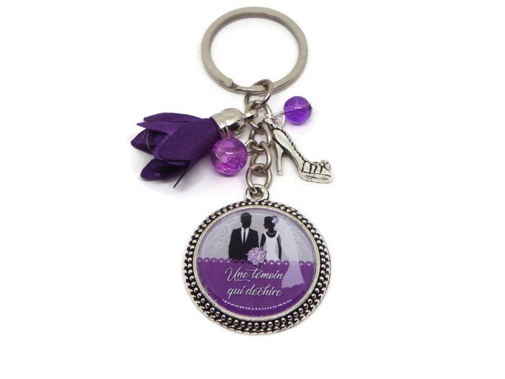 """Porte clés témoin mariage, """"Une témoin qui déchire"""""""