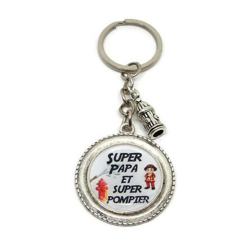 """Porte clés papa, """"super papa et super pompier"""", porte clé pompier, cadeau fête des pères"""