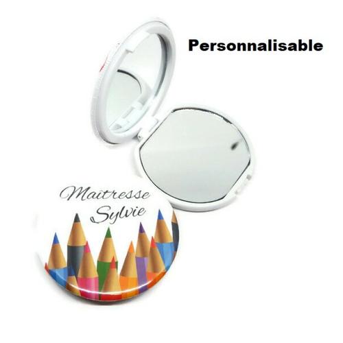 Votre prénom - miroir de poche maîtresse, atsem, aesh, à personnaliser avec le métier et le prénom de votre choix