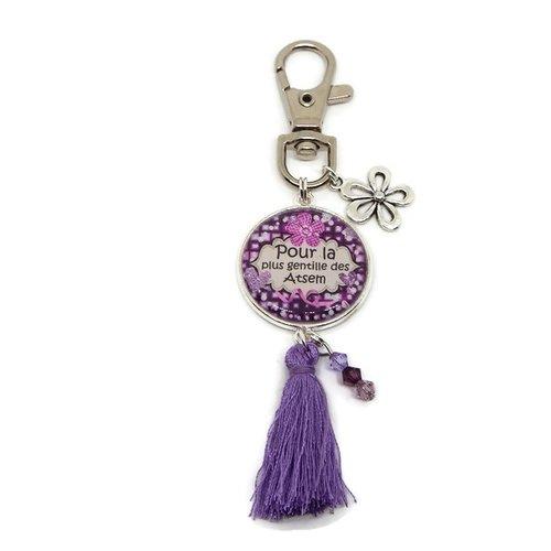 """Porte clés atsem, cadeau atsem, """"pour la plus gentille des atsem"""""""