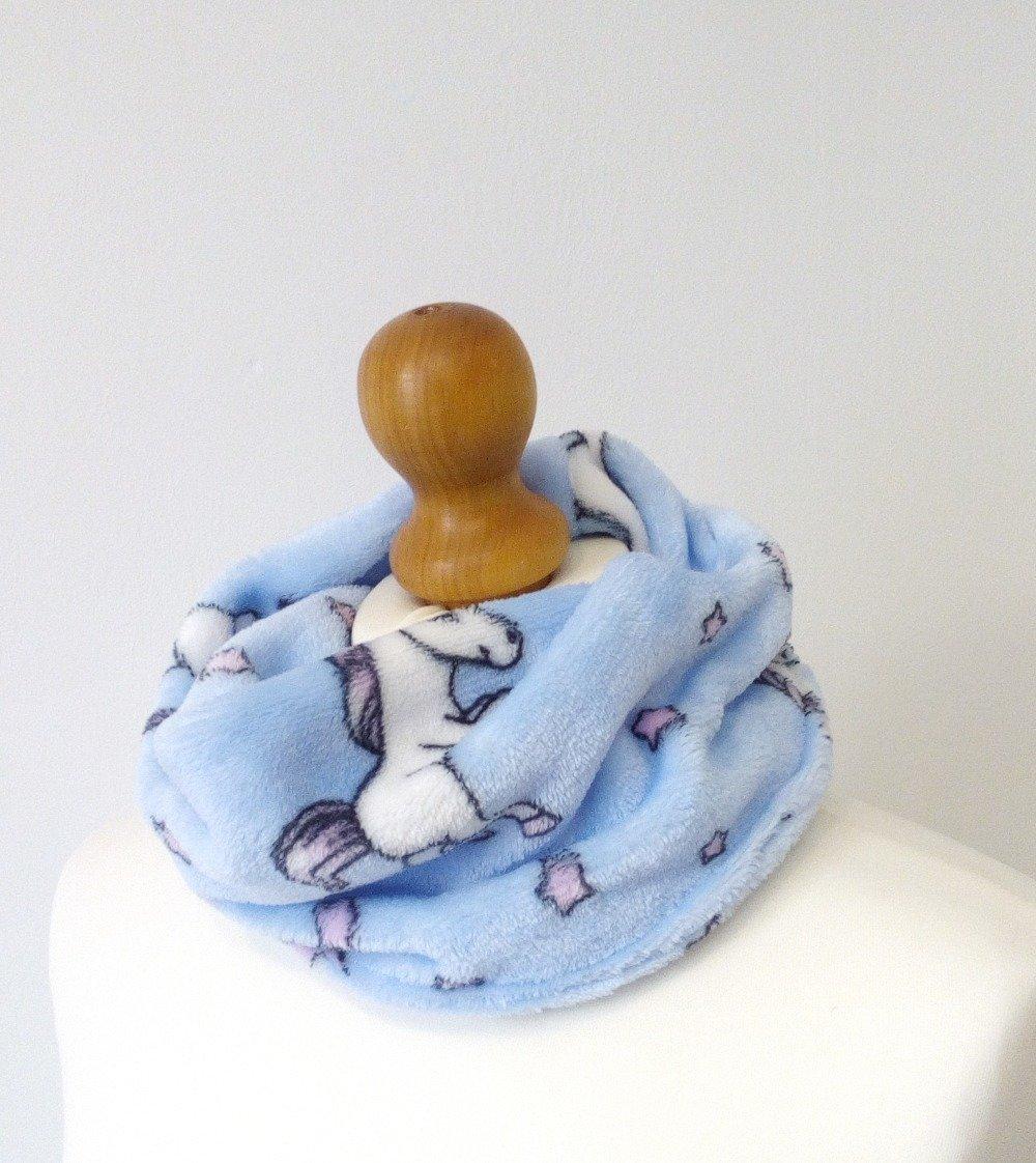 Snood ou tour de cou bleu turquoise licornes