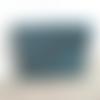 Porte monnaie en cuir de veau bleu pétrole brillant vernis - 9,8cm x 7,5cm
