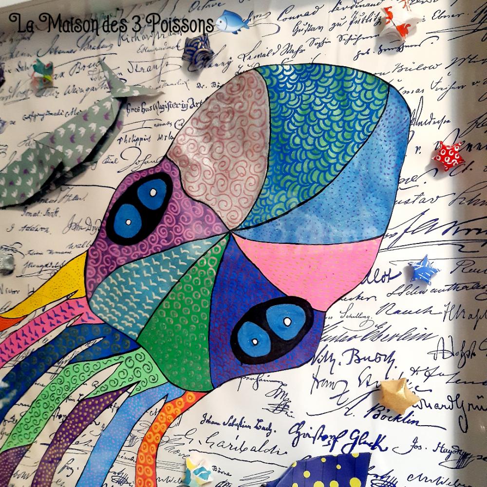 """cadre décoration origami """" 20 000 lieus sous les mers"""""""