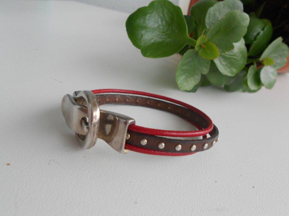 Bracelet cuir marron et rouge, fermoir aimanté