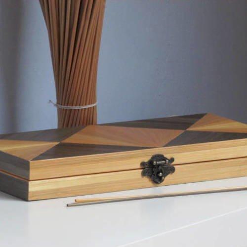 Coffret à montre, coffret à bijoux, boite décoré à la main en marqueterie de paille