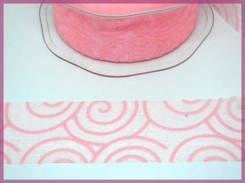 Ruban Galon Organza, fantaisie original, couleur rose, avec impression géométrique paillette, vendu au mètre