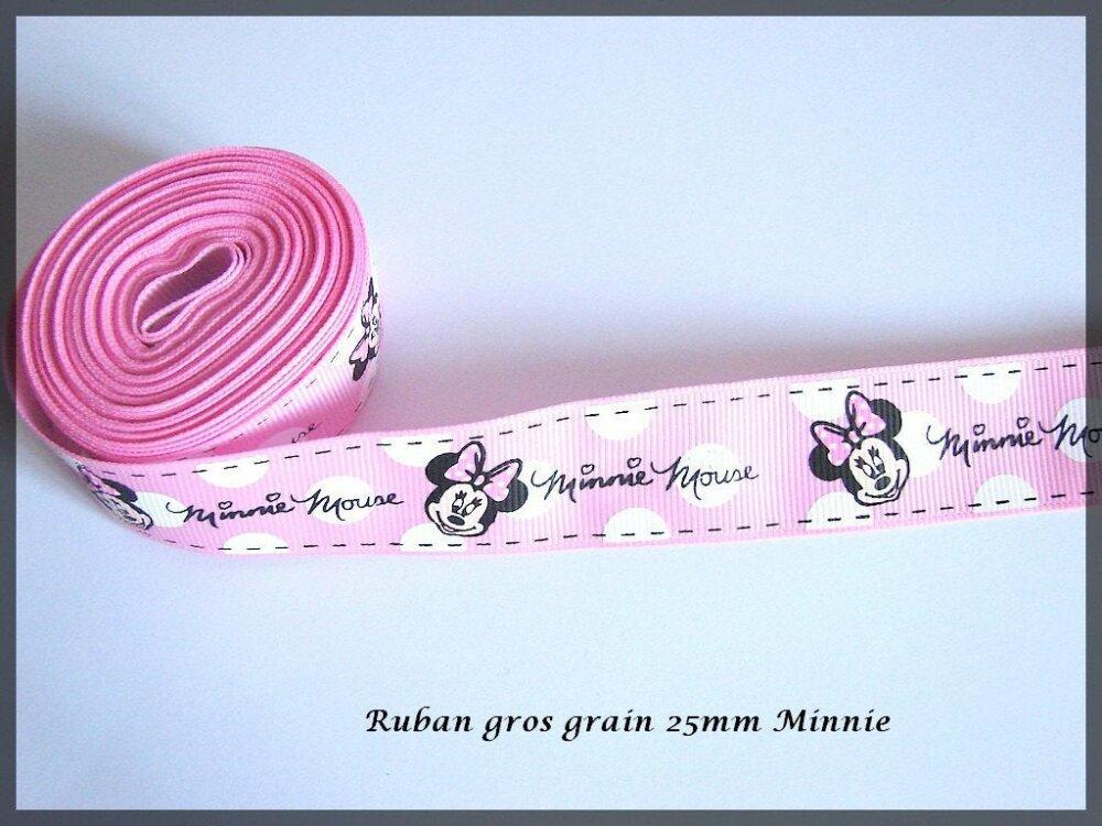 Ruban Gros Grain Minnie largeur 22 mm vendu au mètre