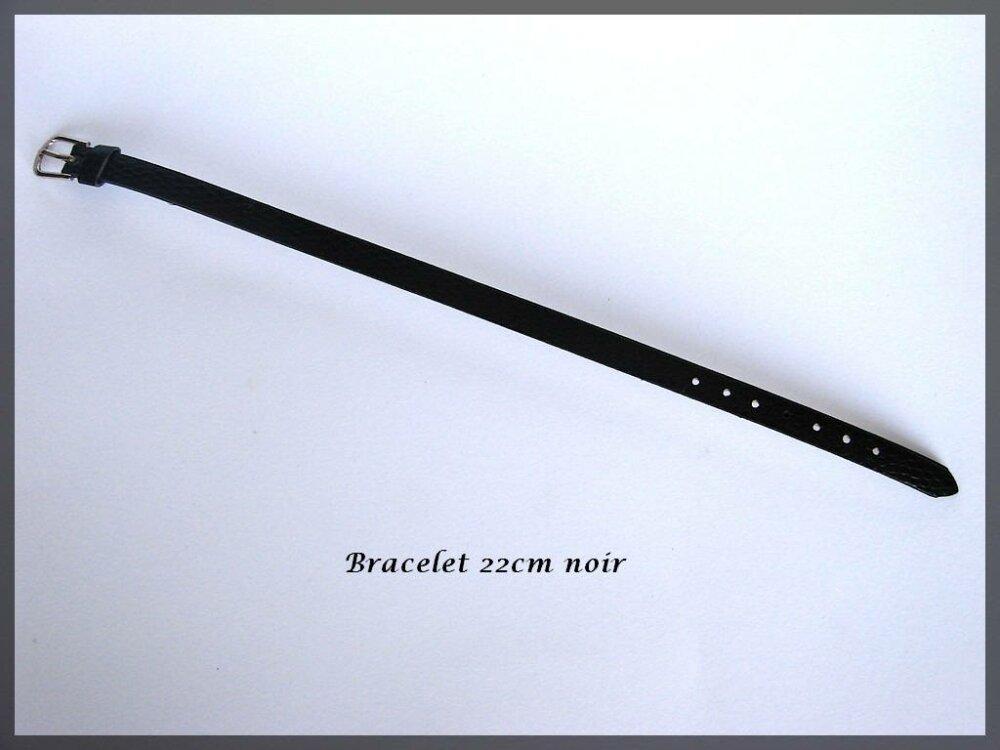 Bracelet simili cuir couleur noir effet serpent pour perles passantes
