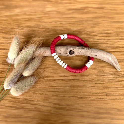 Bracelet heishi rouge et blanc